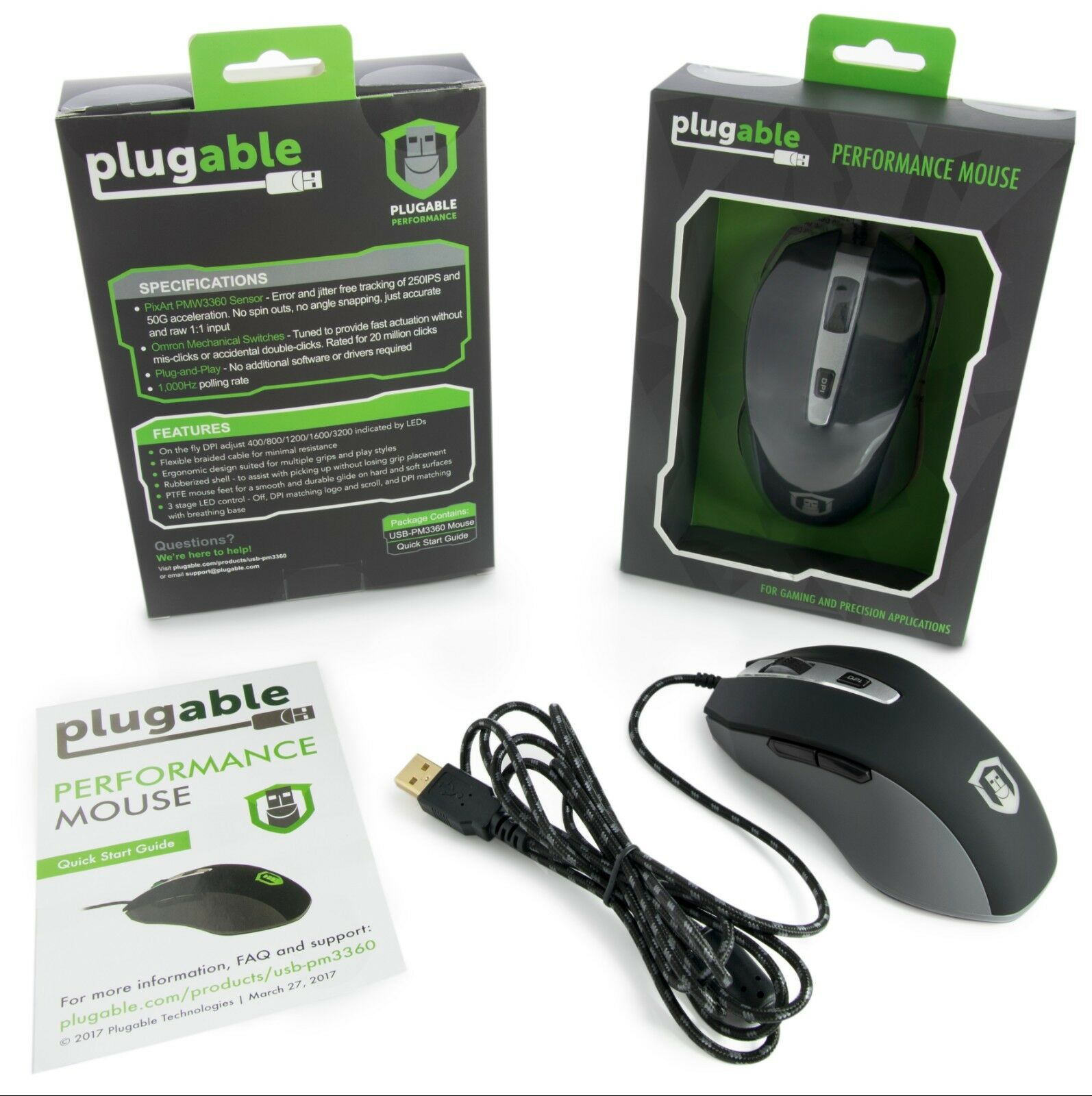 d51c679d0c8 Plugable Performance Mouse With Pixart PMW 3360 Sensor for Gaming and  Precision for sale online | eBay