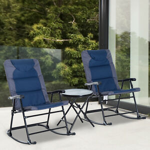 Outsunny 3 Piece Folding Outdoor Rocking Chair Table Set Patio
