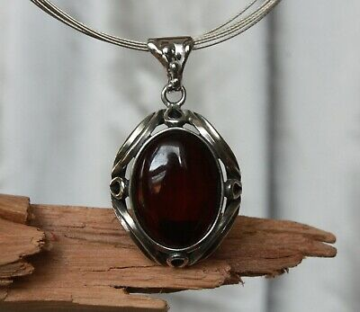 AUTHENTIC BALTIC AMBER PENDANT DARK CHERRY COLOR 925 STERLING SILVER