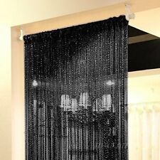Beau Door Curtain String Hanging Beads Room Divider Black Fringe Wall Window  Panel