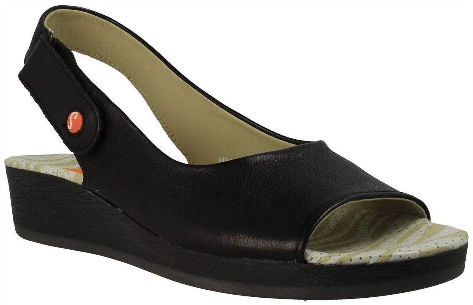 Zapatos casuales salvajes Descuento por tiempo limitado Softinos Ladies Black Leather Slingback Sandals ALL454SOF