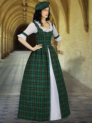 Scottish Tartan Two-Piece Traditional Dress Handmade Renaissance Tartan Plaid