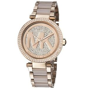 Michael kors parker rose gold blush pave crystal logo dial mk6176 image is loading michael kors parker rose gold blush pave crystal gumiabroncs Choice Image