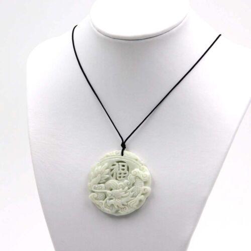 White Jade Happy Lucky Word FU Chinese Zodiac Dragon Amulet Pendant