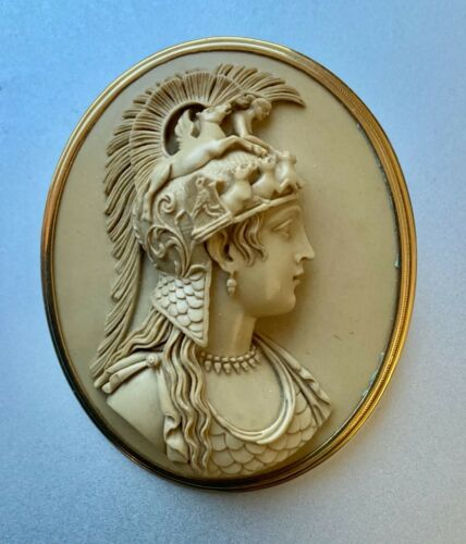 Antique Lava Cameo Brooch of Athena