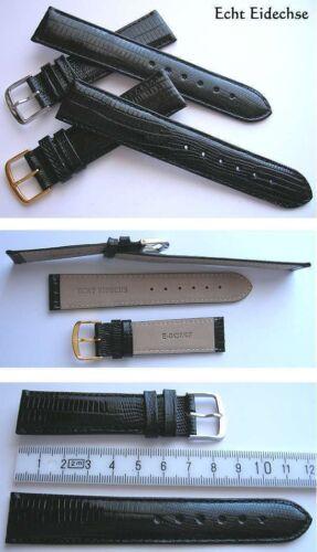 ECHT EIDECHSE Echtes Eidechsenlederuhrenband Uhrenanschlussbreite 20 mm Schwarz
