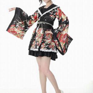 d1fe00b60d72d Women's Japanese Sakura Kimono Costume Floral Yukata Lolita Robe ...