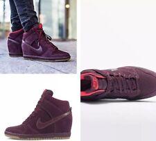 ** Nuovo Nike Borgogna in pelle scamosciata Sky Hi Zeppa Tg UK 4.5 **
