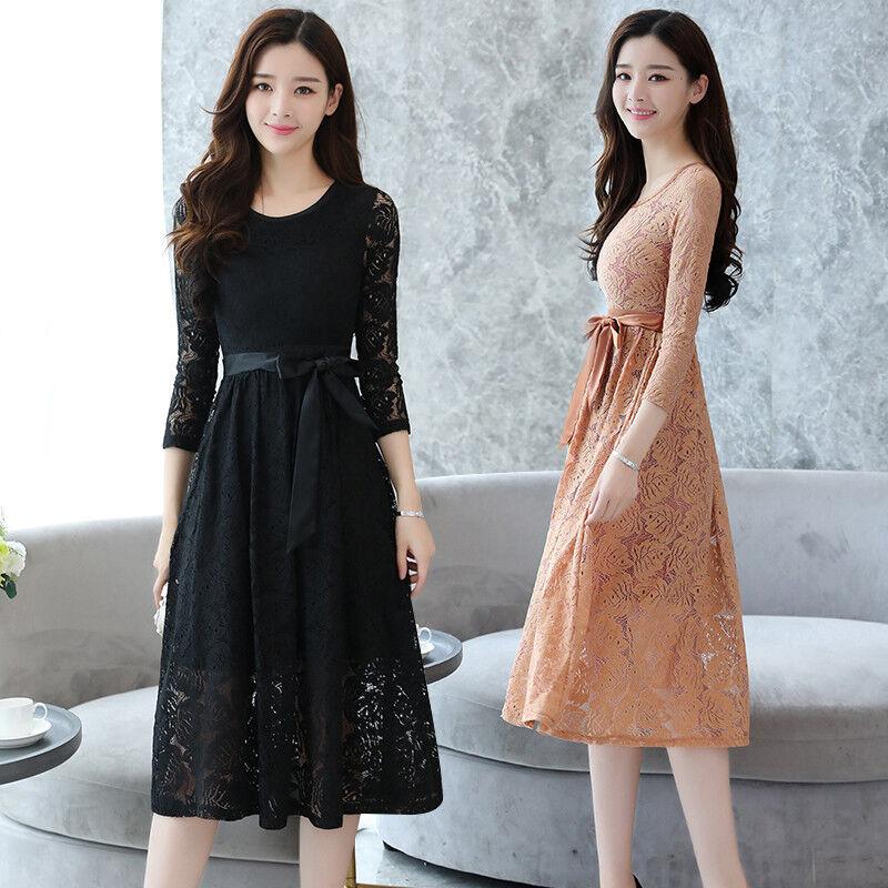 0ea0de9f657ac Details about Fashion Women Lace Floral Korean Evening Cocktail Formal Long  Sleeve Party Dress