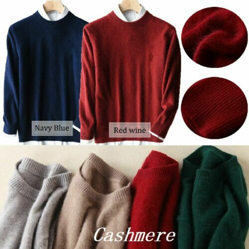 Mens Cashmere Loose Pullover Crew Neck Knit Sweater Cardigans Jumpers Tops
