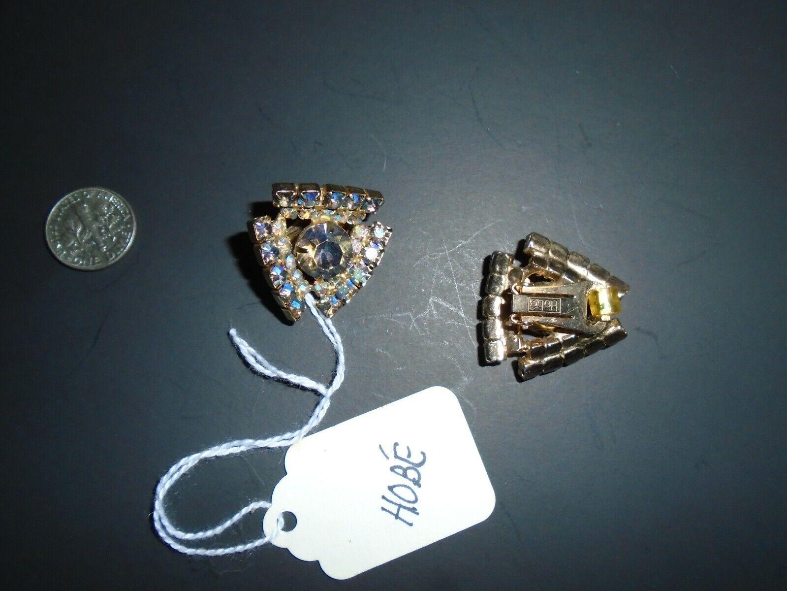 HOBE' vtg aurora borealis clip earrings - image 3