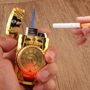 Fashion-Metal-Windproof-Jet-Torch-Gas-Butane-Cigarette-Lighter-Bird-Quartz-Watch
