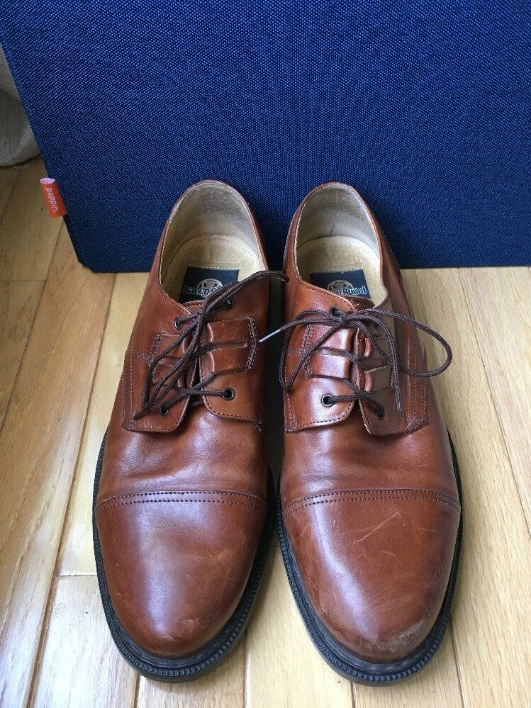 BACCO BUCCI BROWN LEATHER TIE OXFORDS MADE IN ITALY GREAT SOLES SZ 11 D