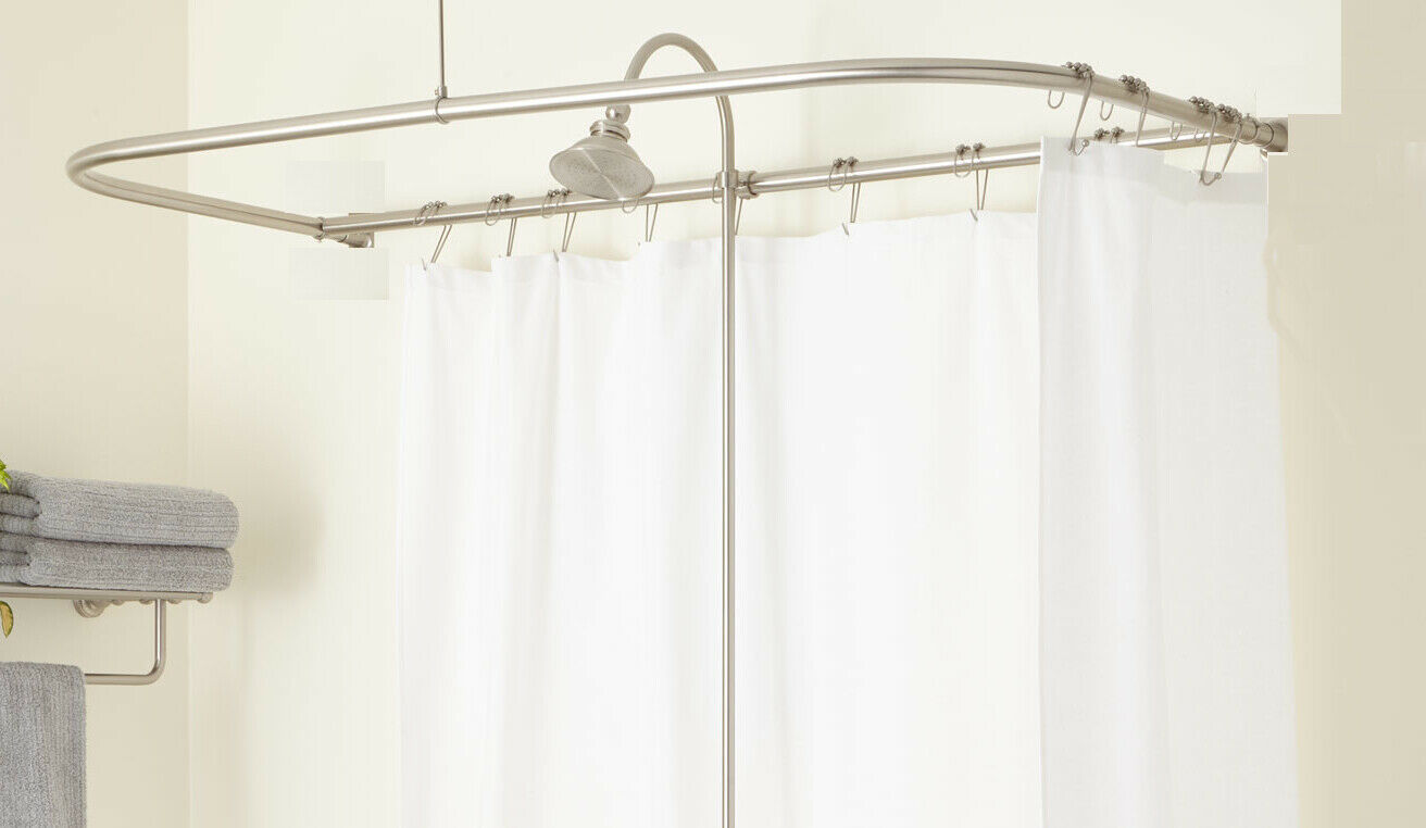 Premier 2091005 D Type Shower Rod With Ceiling Support