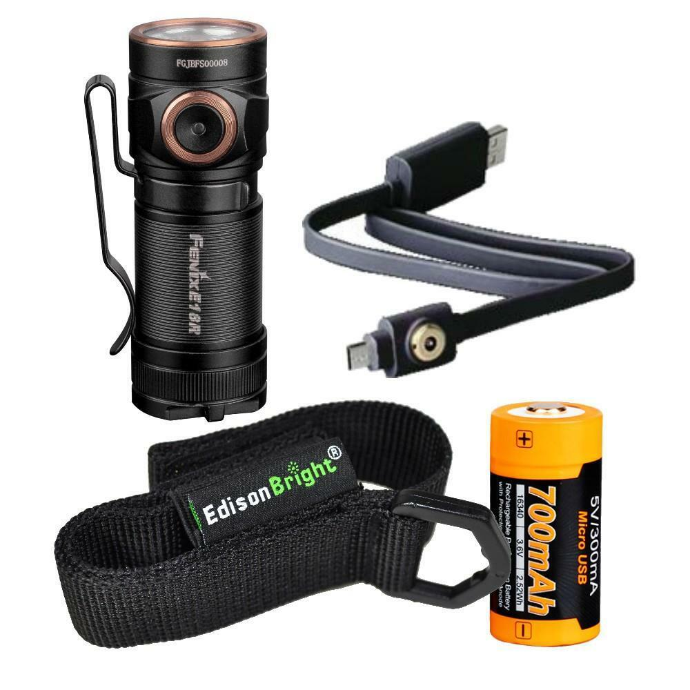 Fenix E18R 750 lumen CREE LED USB rechargeable flashlight w battery & holster