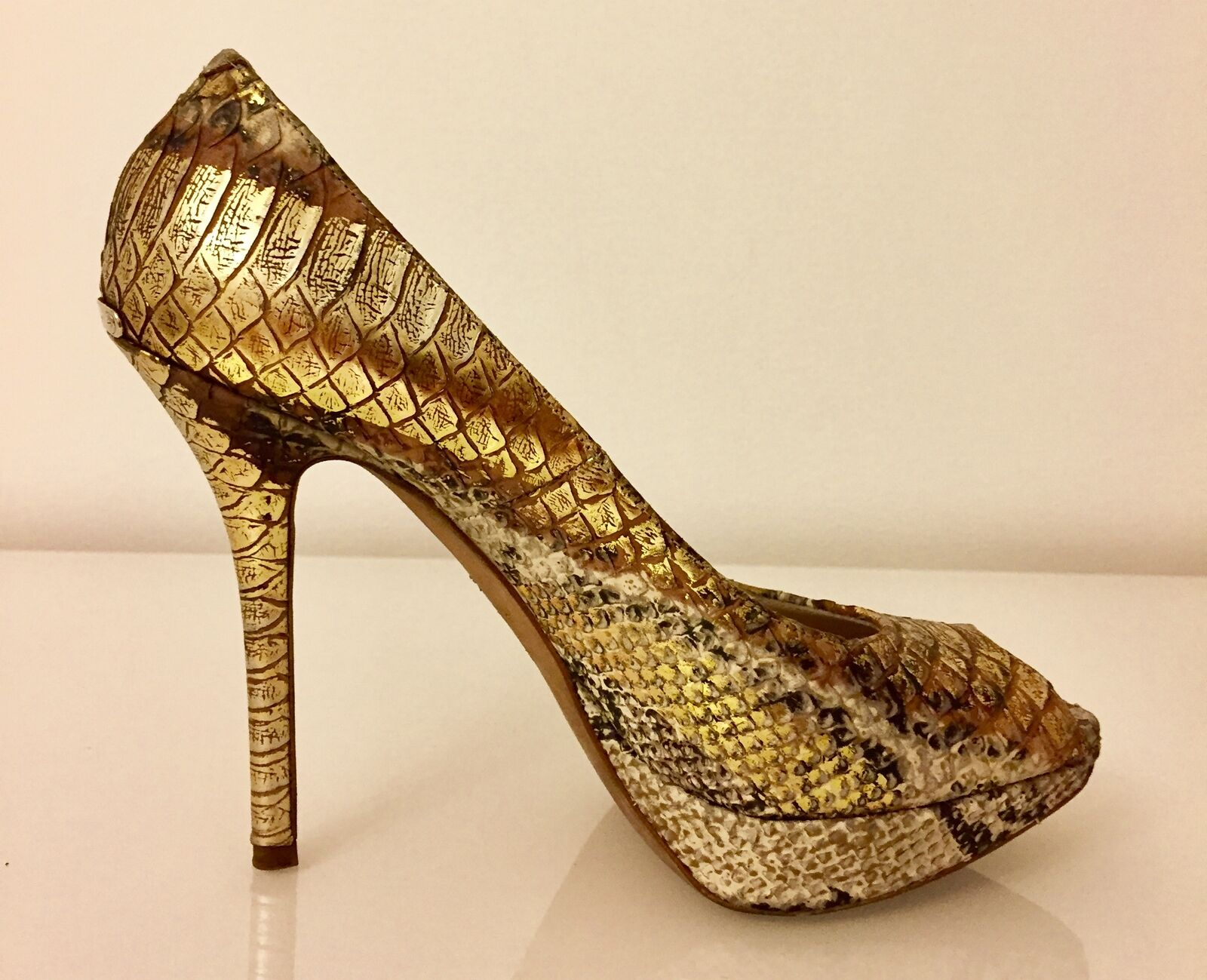 DIOR Pumps Decollete offener Zehe Stiletto UK GOLD US 8 / UK Stiletto 6 / EU 38,5 1e1e45