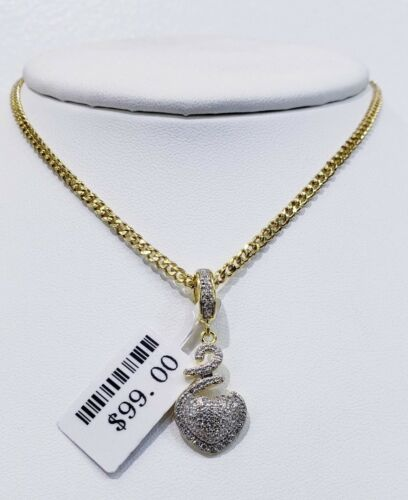 REAL 925 STERLING SILVER ELEGANT HEART OVER 14KT GOLD FINISH MICRO PAVE SETTING