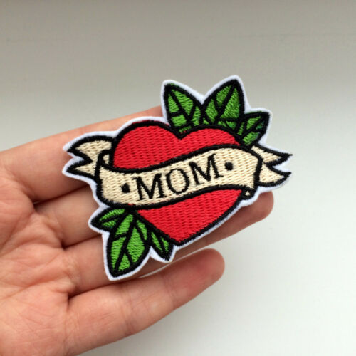 Red Tattoo Heart Mom Dad Boss Embroidered Iron On or Sew On Patch DIY