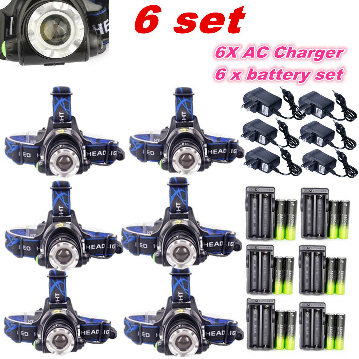 6Set Rechargeable Zoomable 60000LM T6 LED Headlamp Lamp +18650 battery + Charger