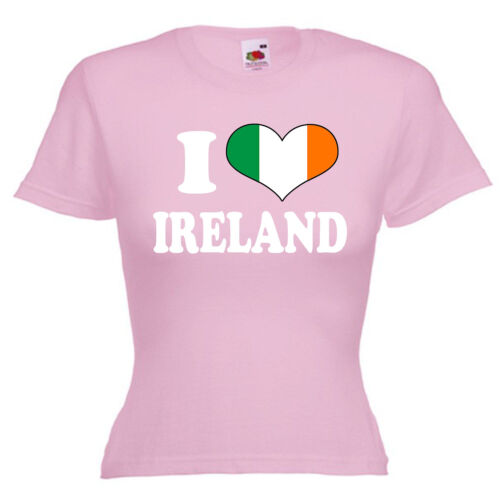 I Love Heart Ireland Ladies Lady Fit T Shirt 13 Colours Size 6-16