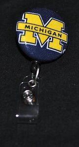 University of Michigan Fabric Badge Reel with swivel alligator clip