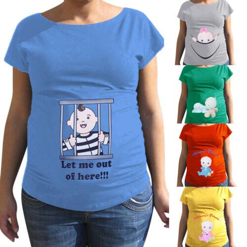 Women Maternity Summer Cute Baby Print Short Sleeve T Shirt Pregnancy Top Blouse