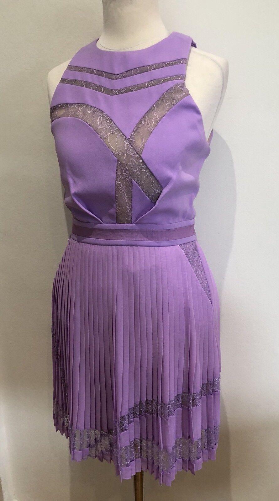 Three Floor Fashion Lilac Plated Lace Dress UK6