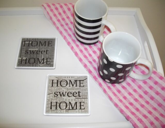 New Home Coaster - Drinking Coaster - Grey Black Contemporary Drinking Mat