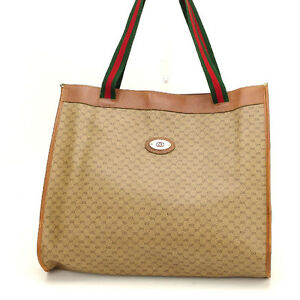 626c8cb69fb Image is loading Gucci-Tote-bag-Brown-Green-Woman-Authentic-Used-