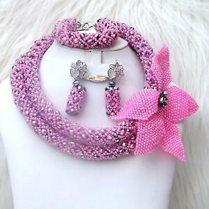 Customised-Pink-Mix-with-Silver-Crystal-Bridal-Wedding-African-Bead-Jewelry-Set