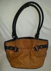 Image Is Loading Tignanello Two Tone Tan Brown Leather Purse Hobo