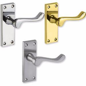 VICTORIAN-SCROLL-LATCH-DOOR-HANDLES-Pair-Internal-Brass-Chrome-Satin-Interior