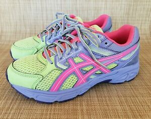 Details about EUC Girls ASICS GEL CONTEND 3 Purple Pink Green Athletic Sneakers Size 5