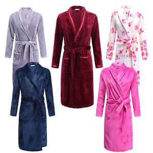 Winter-Lady-Men-039-s-Soft-Coral-Fleece-Robe-Warm-Sleepwear-Bathrobe-Dressing-Gowns