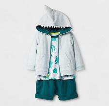Cat & Jack Toddler 3pc Shark Hooded Sweatshirt Short Sleeve Tee Shorts - 12m