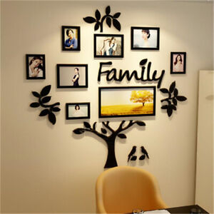 DIY 3D Family Tree Acrylic Photo Pictures Collage Frame Wall Art Home Deco