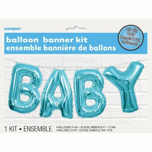 Blue Baby Letter Foil Balloon Banner Kit Baby Shower Party Decoration Garland