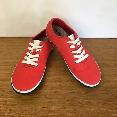 ???? Womens Terra Plana Vivobarefoot Casual Canvas Lace Up Shoes Red Size 40 9