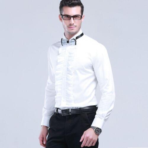 Mens Cotton Wing Collar White Ruffled Front Slim Base Shirt Formal Dress Blouse