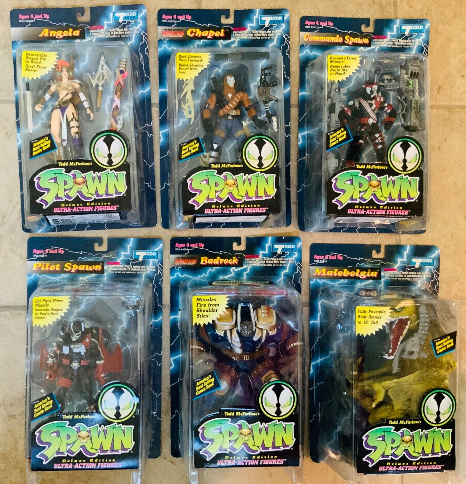 Spawn Series 2 complete set of 6 action figures-variante Angela Comme neuf on Card 1994