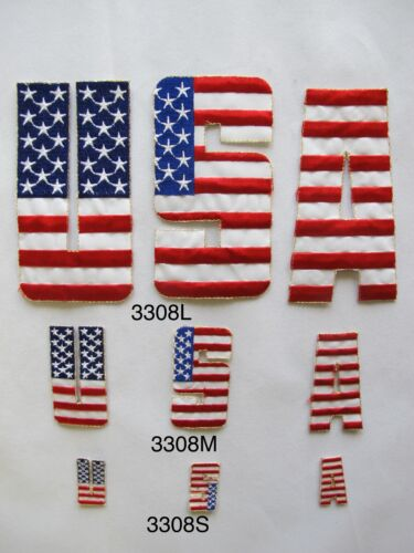 #3308 USA Word Patriotic Red White Blue Embroidery Iron On Applique Patch