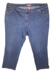 WOMAN-WITHIN-Size-24W-Medium-Wash-Blue-Natural-Fit-Straight-Leg-Jeans