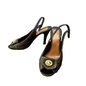 Coach-DORI-Size-9-5B-Peep-Toe-Twist-Lock-Brown-Women-s-Heel-Pumps-Slingback-Shoe