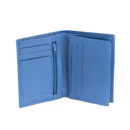 DV Portafoglio uomo verticale in pelle BLU portacarte e zip interna