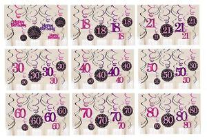 12-X-BIRTHDAY-PARTY-HANGING-SWIRLS-BLACK-PINK-18-21-30-40-50-60-70-80-DECORATION