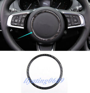 Real-Carbon-Fiber-Steering-Wheel-Logo-Circle-Trim-For-Jaguar-F-Pace-X761-2016-18