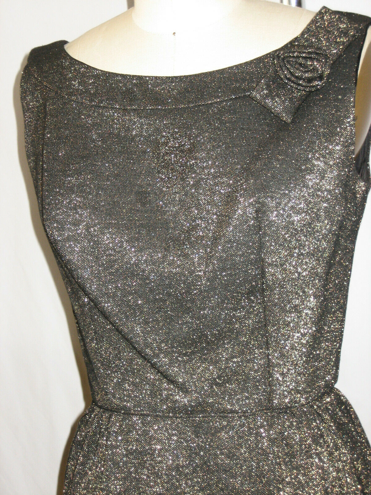 VTG 50s 60s Black Heavily Hand Beaded Long Evening Gown Dress Cocktail Glam XS