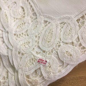 Vintage-Belgian-Lace-Set-Of-11-Linen-Placemats-Elegant-Tableware-20-034-x-13-5-034