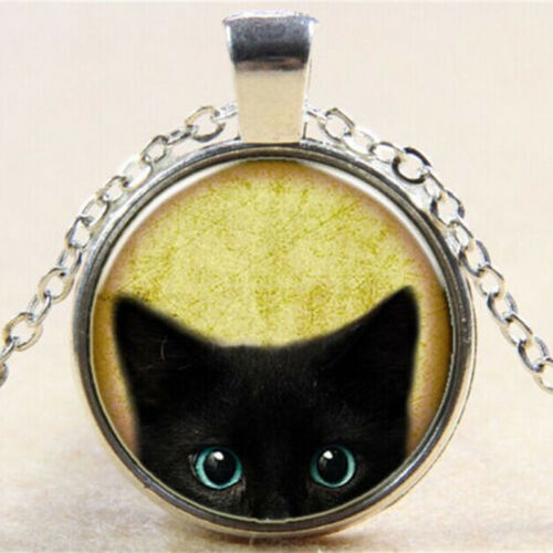 negro Gato vintage collar colgante cabujón cabochon de bronce vidrio cadena