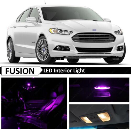 16x Purple Interior License Plate LED Light Package for 2010-2014 Ford Fusion